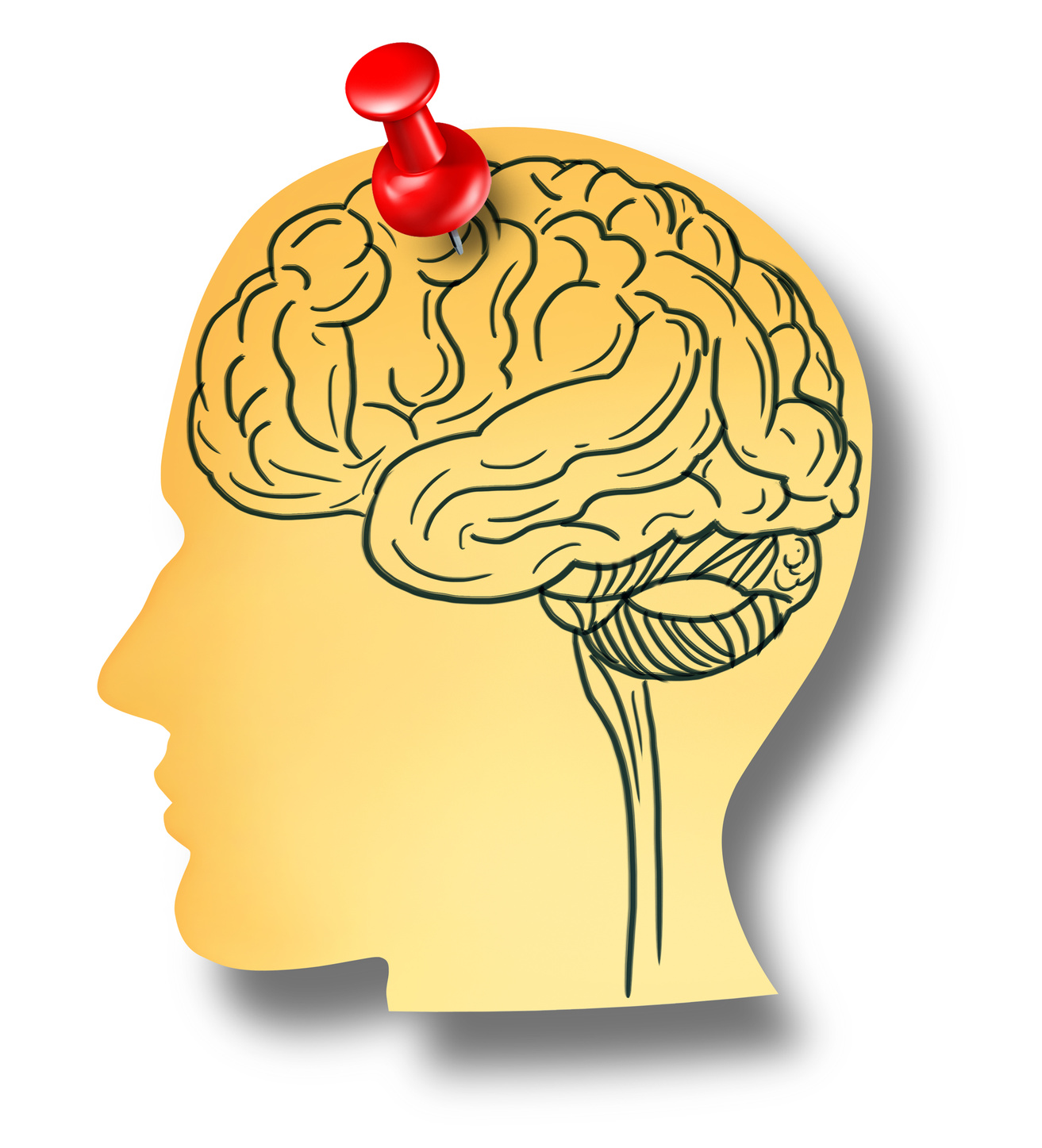 Brain reminder memory loss mental health medical concept of Dementia and Alzheimer's disease with the medical icon of an office note with a drawing as a shape of a human head pinned to a wall with a red thumb tack.